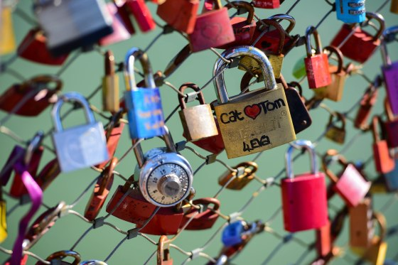 Lovers put locks on the bridge and throw the key in the river to symbolize their permanent love.
