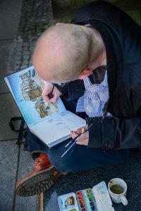 Street artist in Edinburgh